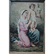 SALE 1950 Madonna and Child Jesus Beautiful Oil Painting by Italian / American Church Muralist