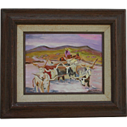 Joseph W Golinkin (1896 - 1977) Highly Listed Artist Cowboy & Longhorns Impressionist Oil ...