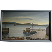 Hudson River Seascsape Fishing Boat at Dock Scene Signed