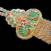 SALE Trifari Vintage Plique a Jour Pendant Poured Glass Runway Bib Tassle Necklace