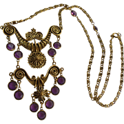 Goldette Etruscan Revival Bezel Set Amethyst Glass Draping Bib Necklace
