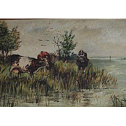 SALE Antique American School Cows at The Marshes Pastoral Scene Oil Painting