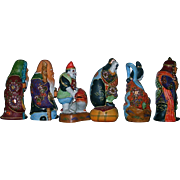 SALE Kutani Set 6 Inch Moriage Gilt Satsuma Figurines Set of 6