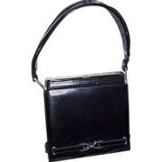 SOLD 1960s Sleek Handbag Dofan France Black Leather With Silver Studs