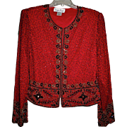 SALE Bejeweled Red Bolero Jacket BY Laurence Kazar Paris New York Sz L
