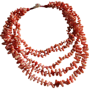 SALE Genuine Branch Coral 5 Strand Necklace with MOP Floral Closure