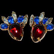 SALE Hattie Carnegie Signed Poured Glass Earrings Red Blue & Clear