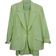 SALE Size 14 Beautiful Summer Suit Green & White Via Condotti FL