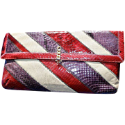 SALE Snakeskin Clutch Burgundy, Purple & Tan