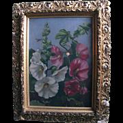 SALE Hollyhocks Antique Oil Painting Philadelphia Victorian Era Provenance