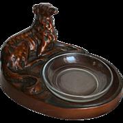 SALE Art Deco Sculpture Whippet Greyhound Bronze Painted Figural Dish