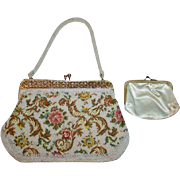 SALE Beautiful Contrasting Embroidered and Beaded Vintage White Floral Evening Bag with Gold F