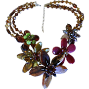 SALE Statement Necklace! Molded Glass & Crystal Floral Runway Piece!