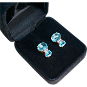 SALE 14K Gold 4.0 TCW Blue Topaz & Diamond Pierced Earrings