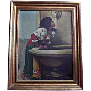 "SALE Enchanting Artist Signed Oil Painting after Leon Bonnat ""Roman Girl at Fountain"""