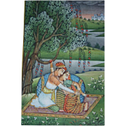 SALE Fine Indian Romantic Mughal Miniature Gouache Painting