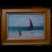 SALE Antique Scottish Oil on Canvas Figure in Seascape