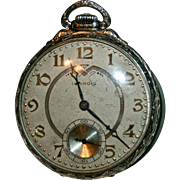 SALE Solid White 14K Gold Rare A Lincoln Pocket Watch 19 Jewels 1930s Illinois Watch Co