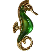 SALE Rare Signed Trifari Jelly Belly Large Seahorse Brooch