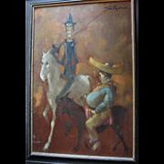 Huge Man of La Mancha Don Quixote & Sancho Panza Oil Painting by British Artist Tom W. Quinn (