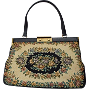 SALE Beautiful Large Floral Tapestry Handbag Made in Denmark