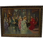 SALE French Court with Cardinal Scene Oil Painting