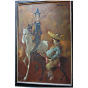 SALE Valentine's Sale! Huge Man of La Mancha Don Quixote & Sancho Panza Oil Painting by Listed