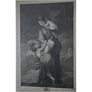 Museum Worthy Oxford Univ 18th Century Antique Stippel Engraving c1790s Charity by Facius Oxfo