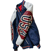 SOLD 1980s Mens USA Athletic Leather Jacket by Michael Hoban Red White Blue Size L