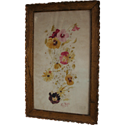 SALE 1910 Dated Floral Antique Watercolor in Gilt Wood Frame