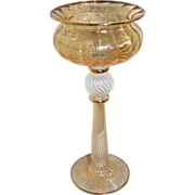SALE Magnificent 19th Century Bohemian Amber Colored Monumental Glass Goblet
