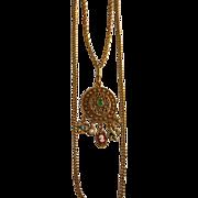 SALE Goldette Victorian Revival Dangling Cameo Pendant Necklace