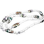 SALE Vintage Chinese Export Necklace Snakes & Dragons Painted Beads White Agate