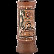 SALE Vintage Peruvian Hand Crafted Ceramic Vase