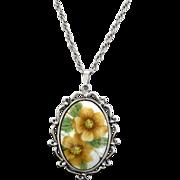 SALE Whiting & Davis Oval Flower Pendant Necklace