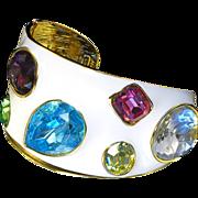 SALE Vintage Kenneth Lane White Enamel Crystal Jewel Cuff With 18K Gold Plate