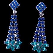 Austrian Blue and Deep Aqua Crystal And Silver Tone Earrings