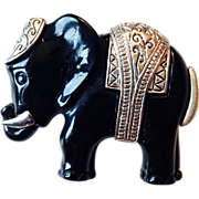 SALE Vintage Black Acrylic Elephant Pin