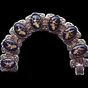 Circa 1930-40's Black Glass Cabochon Siam Dancer Bracelet