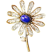 SALE ART Circa 1950-60's Gold Tone Flower Brooch