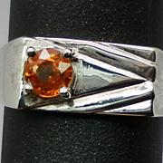 SALE Vintage 14kt Mandarin Garnet Men's Ring; FREE SIZING