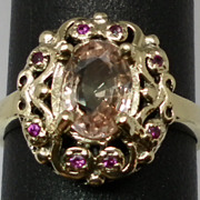 SALE Vintage 14kt Unheated Padparadscha Sapphire & Ruby Ring; FREE SIZING