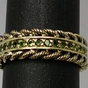 SALE Vintage 14kt Peridot Ring; FREE SIZING.