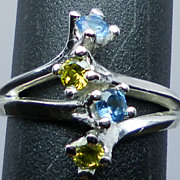 SALE NATURAL peridot and blue topaz silver ring; all sizes from 3 to 13.