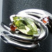 SALE NATURAL peridot and garnet silver ring; ANY size from 3 to 13.