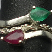 SALE Vintage 14kt Emerald & Ruby Ring; FREE SIZING