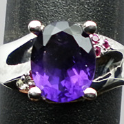 SALE NATURAL amethyst and ruby silver ring,ANY SIZE FROM 3 TO 13.