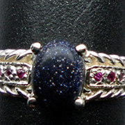 SALE NATURAL purple sunstone and ruby silver ring;  ANY SIZE 3 -13