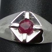 SALE Natural Ruby  Men's Silver Ring, ANY SIZE FROM 4 TO 15