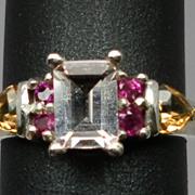 Vintage 14kt Morganite, Ruby & Citrine Ring; FREE SIZING